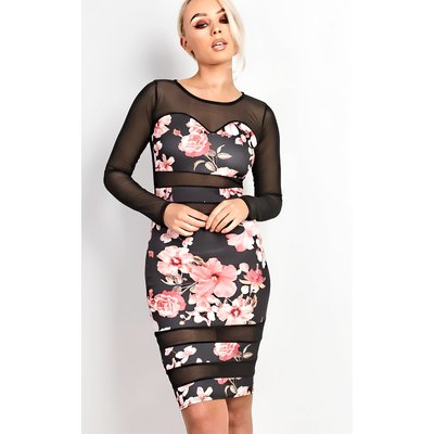 IKRUSH Womens Allma Floral Mesh Detail Midi Dress