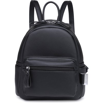 BLOCK PARTY BLACK FAUX LEATHER MINI BACKPACK