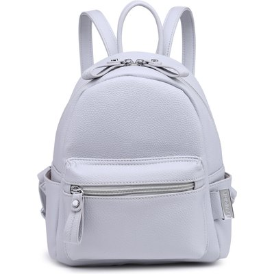 BLOCK PARTY GREY FAUX LEATHER MINI BACKPACK