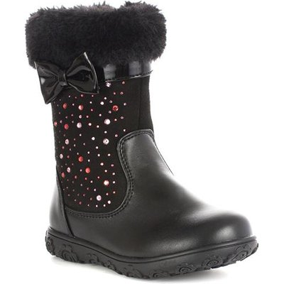 Walkright Girls Black Fur Top Diamante Calf Boot