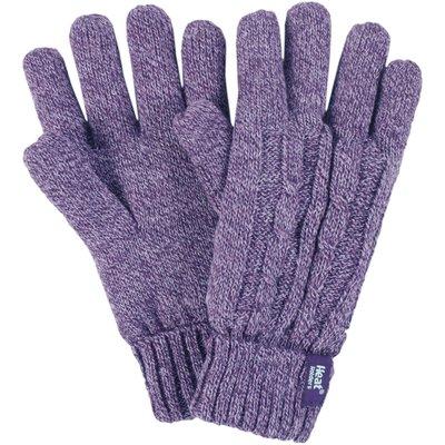 Ladies 1 Pair Heat Holders 2.3 Tog Heatweaver Yarn Gloves In Purple