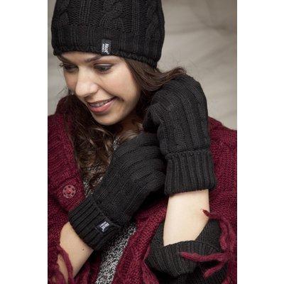 Ladies 1 Pair Heat Holders 2.3 Tog Heatweaver Yarn Gloves In Black