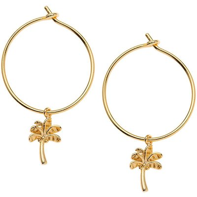 Orelia-Earrings - Palm Tree Charm Hoops - Gold