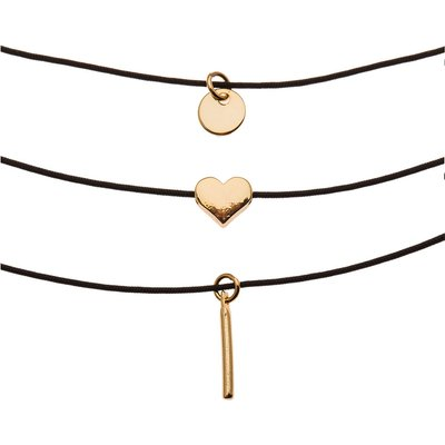 Orelia-Necklaces - 3 Row Charm Choker Set - Black