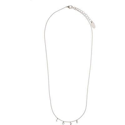 Orelia-Necklaces - Love Charm Script Necklace - Silver