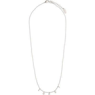 Orelia-Necklaces - Lucky Charm Script Necklace - Silver