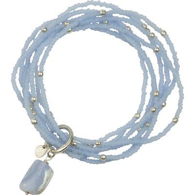 A Beautiful Story-Bracelets - Nirmala Blue Lace Agate Bracelet - Silver