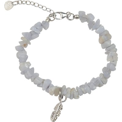 A Beautiful Story-Bracelets - Power Blue Lace Agate Feather Bracelet - Silver