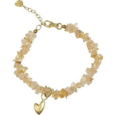A Beautiful Story-Bracelets - Power Citrine Heart Bracelet - Gold