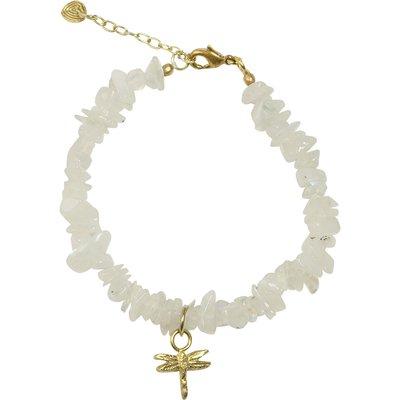 A Beautiful Story-Bracelets - Power Rainbow Moonstone Dragonfly Bracelet - Gold
