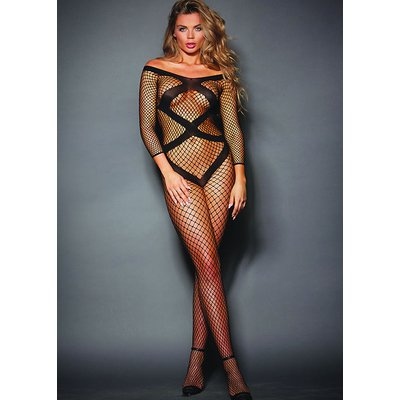 Dreamgirl Criss Cross Fishnet Bodystocking With Long Sleeves