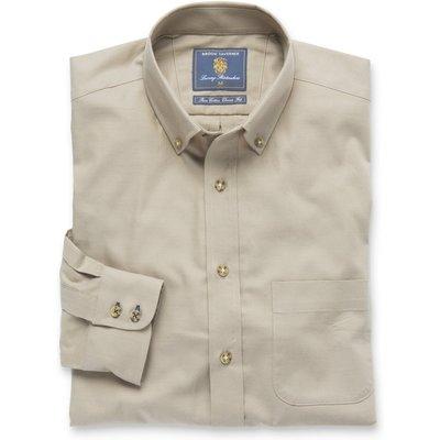 Plain Stone Twill Brushed Cotton Button Down Collar Shirt