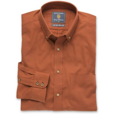 Plain Rust Twill Brushed Cotton Button Down Collar Shirt