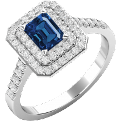 A stunning emerald cut Sapphire and diamond cluster set in platinum