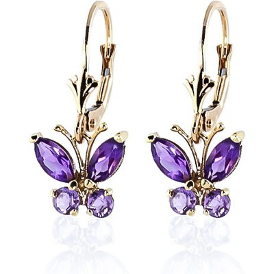 Amethyst Butterfly Drop Earrings 1.24ctw in 9ct Gold