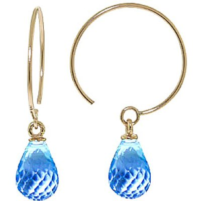Blue Topaz Eclipse Briolette Circle Wire Earrings 1.35ctw in 9ct Gold