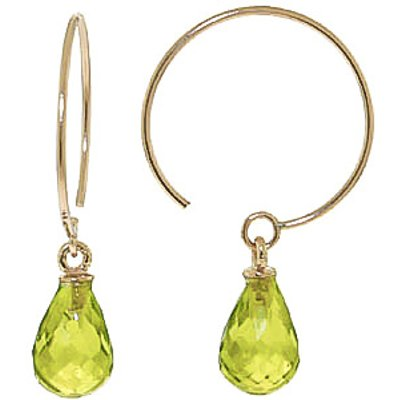 Peridot Eclipse Briolette Circle Wire Earrings 1.35ctw in 9ct Gold