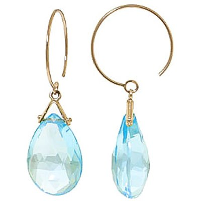 Blue Topaz Eclipse Briolette Circle Wire Earrings 10.2ctw in 9ct Gold