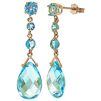 Blue Topaz Pendulum Drop Earrings 13.2ctw in 9ct Gold
