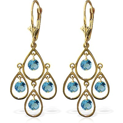 Blue Topaz Quadruplo Milan Drop Earrings 2.4ctw in 9ct Gold
