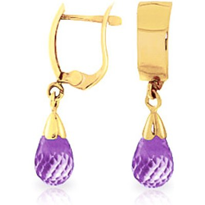 Amethyst Teardrop Briolette Earrings 2.5ctw in 9ct Gold