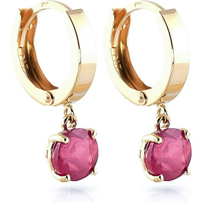 Ruby Huggie Drop Earrings 2.5ctw in 9ct Gold