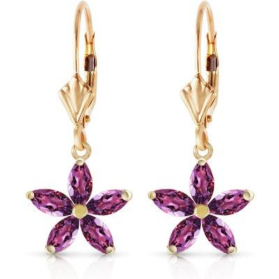 Amethyst Flower Star Drop Earrings 2.8ctw in 9ct Gold