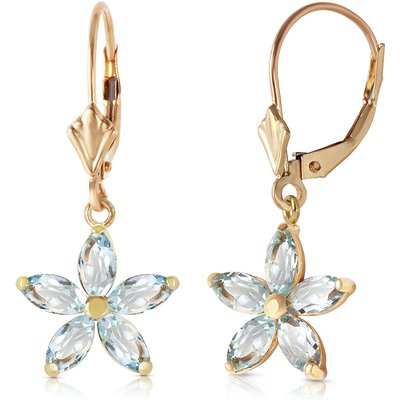 Aquamarine Flower Star Drop Earrings 2.8ctw in 9ct Gold
