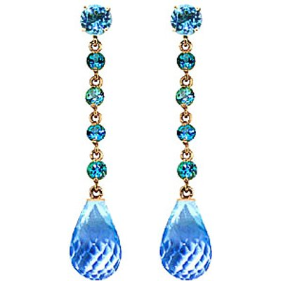 Blue Topaz by the Yard Drop Earrings 23.0ctw in 9ct Gold