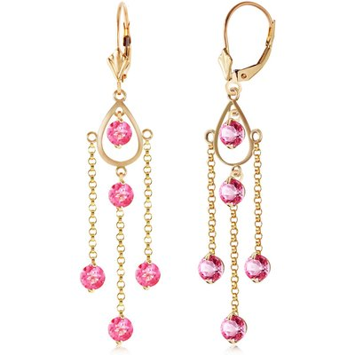 Pink Topaz Faro Drop Earrings 3.0ctw in 9ct Gold