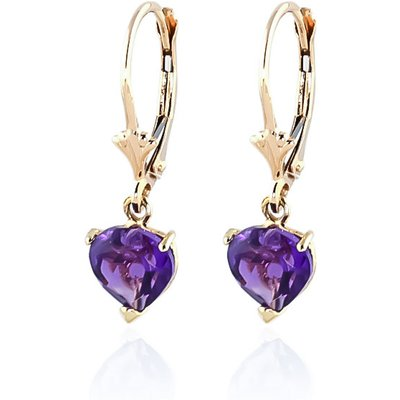 Amethyst Heart Drop Earrings 3.25ctw in 9ct Gold