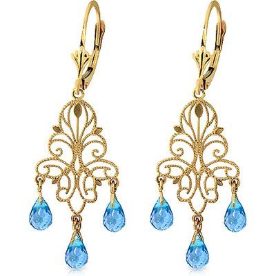 Blue Topaz Mirage Briolette Drop Earrings 3.75ctw in 9ct Gold