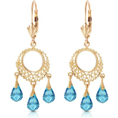 Blue Topaz Trilogy Briolette Drop Earrings 3.75ctw in 9ct Gold