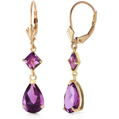 Amethyst Droplet Earrings 4.5ctw in 9ct Gold