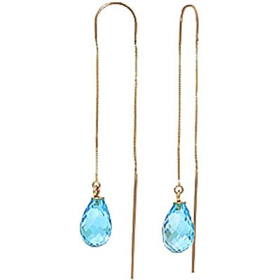 Blue Topaz Scintilla Briolette Earrings 4.5ctw in 9ct Gold