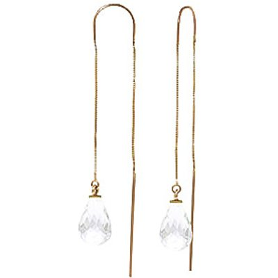 White Topaz Scintilla Briolette Earrings 4.5ctw in 9ct Gold