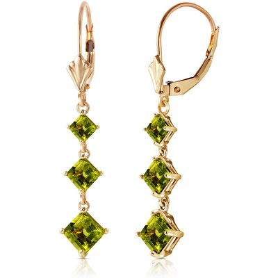 Peridot Three Stone Drop Earrings 4.79ctw in 9ct Gold