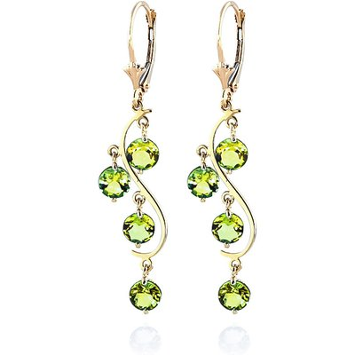 Peridot Dream Catcher Drop Earrings 4.95ctw in 9ct Gold