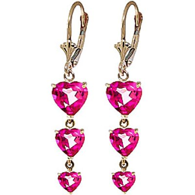Pink Topaz Triple Heart Drop Earrings 6.0ctw in 9ct Gold