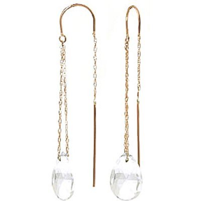 White Topaz Scintilla Briolette Earrings 6.0ctw in 9ct Gold