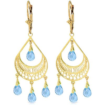 Blue Topaz Mirage Briolette Drop Earrings 6.75ctw in 9ct Gold