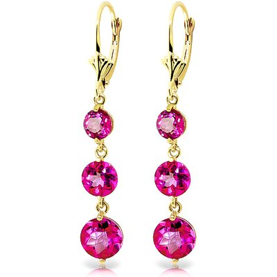 Pink Topaz Trinity Drop Earrings 7.2ctw in 9ct Gold