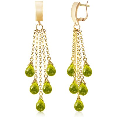 Peridot Droplet Briolette Earrings 7.3ctw in 9ct Gold