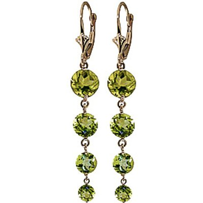 Peridot Quadruplo Drop Earrings 7.8ctw in 9ct Gold