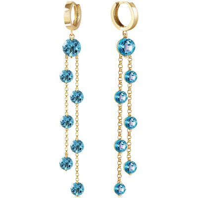 Blue Topaz Roman Drop Earrings 9.02ctw in 9ct Gold