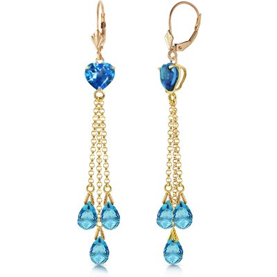 Blue Topaz Vestige Heart Drop Earrings 9.5ctw in 9ct Gold