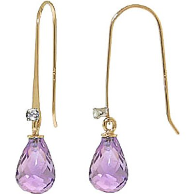 Amethyst and Diamond Drop Earrings 1.35ctw in 9ct Gold