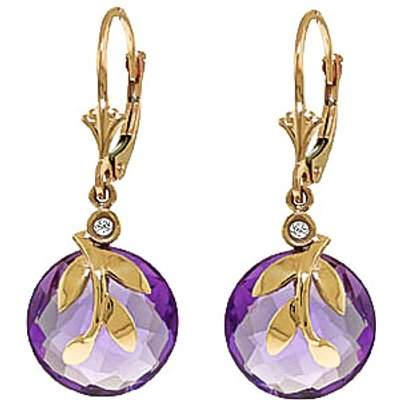 Amethyst and Diamond Olive Leaf Drop Earrings 10.6ctw in 9ct Gold