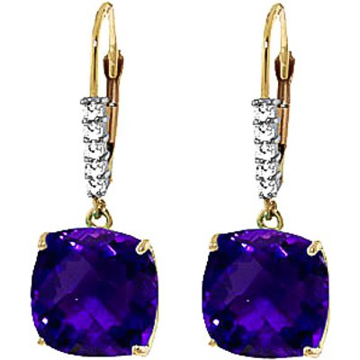 Amethyst and Diamond Rococo Drop Earrings 7.2ctw in 9ct Gold