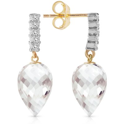 White Topaz and Diamond Stem Droplet Earrings 4.5ctw in 9ct Gold
